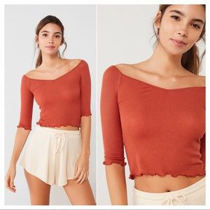Out From Under OffShoulder Ribbed Lettuce Edge Top